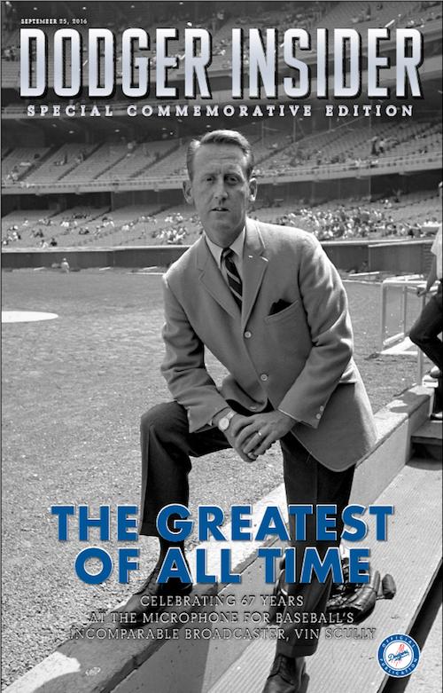 Vin Scully commemorative Dodger Insider cover