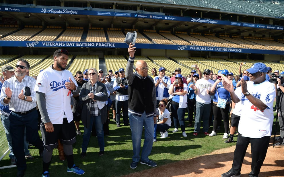 Kenley Jansen, Don Newcombe Attend Veterans Day Batting Practice At Dodger Stadium
