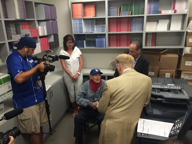 Dodgers News: 107-year-old Irving Piken Meets Vin Scully, Orel Hershiser
