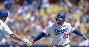 Adrian Gonzalez, Rob Segedin, Los Angeles Dodgers