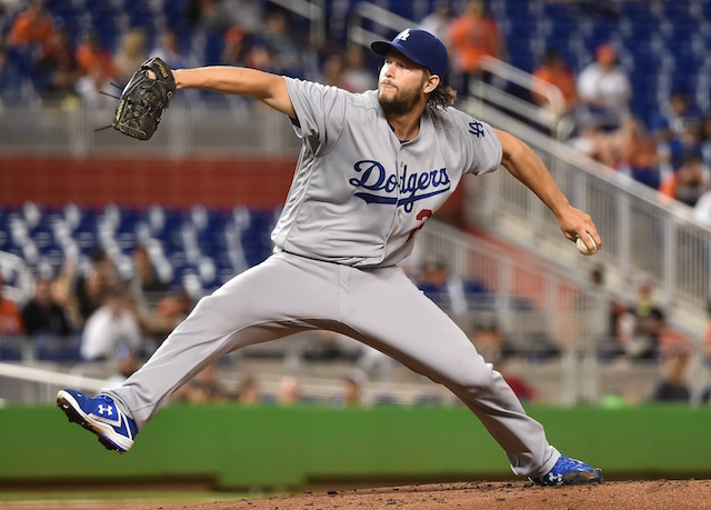 Los Angeles Dodgers pitcher Clayton Kershaw against the Miami Marlins