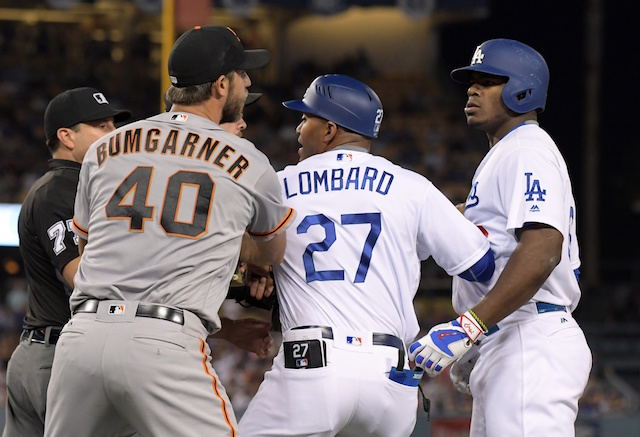 Dodgers Video: Yasiel Puig, Madison Bumgarner Exchange Words