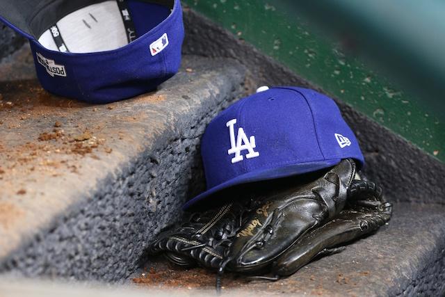 Dodgers cap, glove