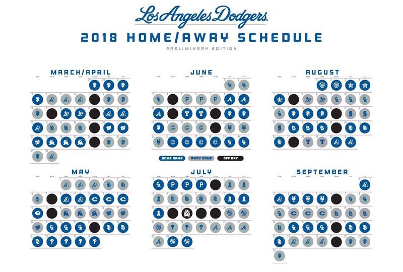 Dodgers 2018 Preliminary Schedule Season Begins Concludes Against