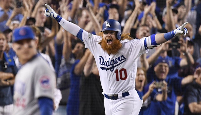 Los Angeles Dodgers third baseman Justin Turner celebrates after hitting a walk-off home run against the Chicago Cubs in the 2017 NLCS