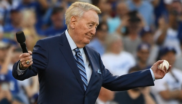Retired Los Angeles Dodgers broadcaster Vin Scully