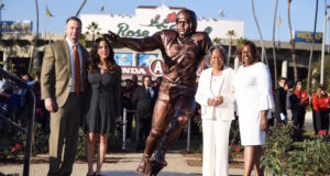 Jackie Robinson statue, Rose Bowl, Jackie Robinson statue unveiling, Alba and Thomas Tull, Sharon Robinson, Rachel Robinson