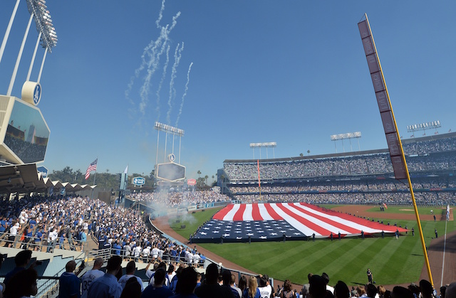 Dodger Stadium view, American flag