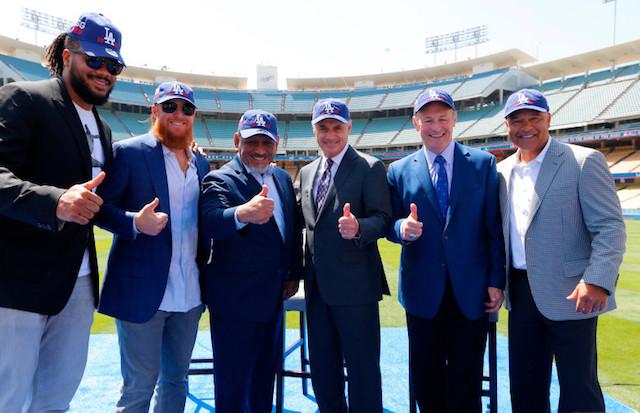 Kenley Jansen, Stan Kasten, Rob Manfred, Dave Roberts, Justin Turner, 2020 MLB All-Star Game