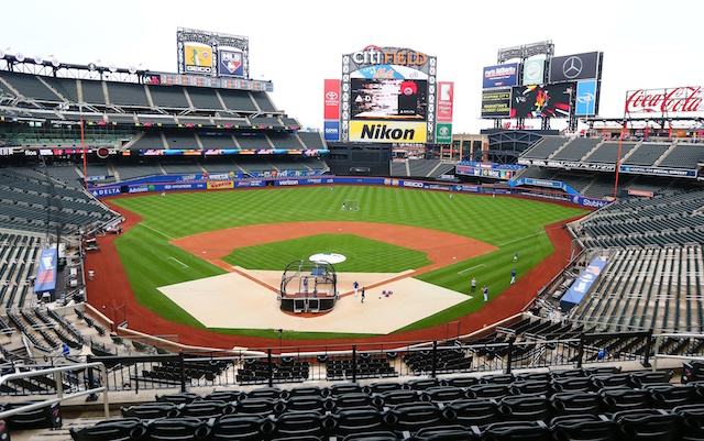 General view of batting practice at Citi Field