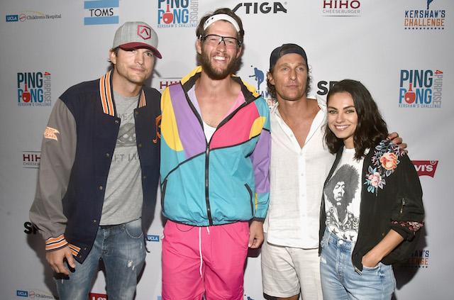 Clayton Kershaw, Mila Kunis, Ashton Kutcher, Matthew McConaughey, Kershaw's Challenge 2018 Ping Pong 4 Purpose