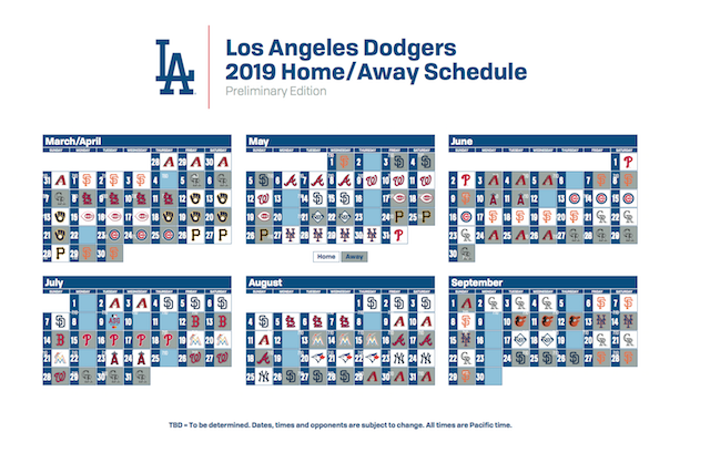 photo relating to Kc Royals Schedule Printable called Los Angeles Dodgers 2019 every month year agenda - Dodger Blue