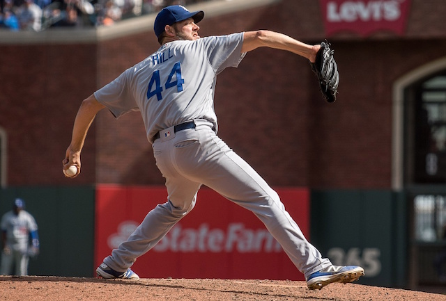Los Angeles Dodgers pitcher Rich Hill against the San Francisco Giants