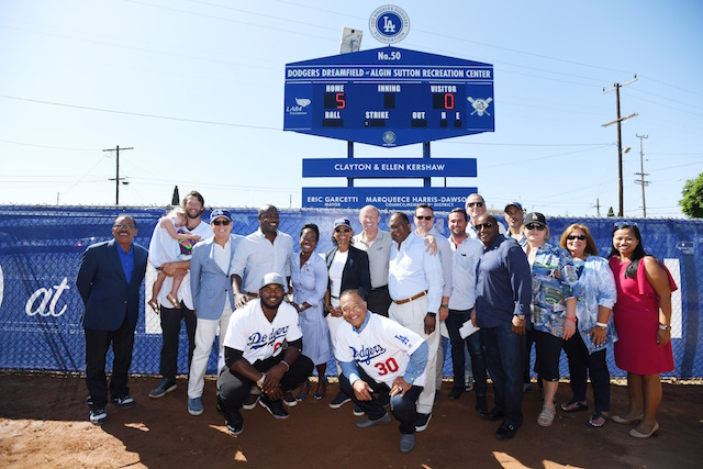 Stan Kasten, Clayton Kershaw, Yasiel Puig, Dave Roberts, Nichol Whiteman, Los Angeles Dodgers Foundation 50th Dreamfield