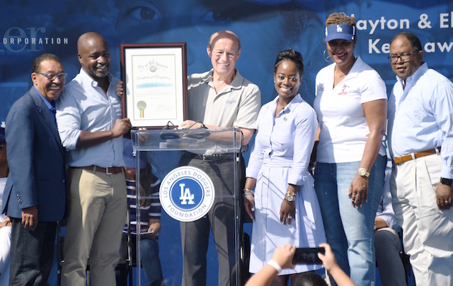 Stan Kasten, Nichol Whiteman, Los Angeles Dodgers Foundation 50th Dreamfield