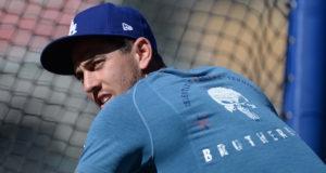 Austin Barnes, Dodgers batting practice, 2018 NLCS