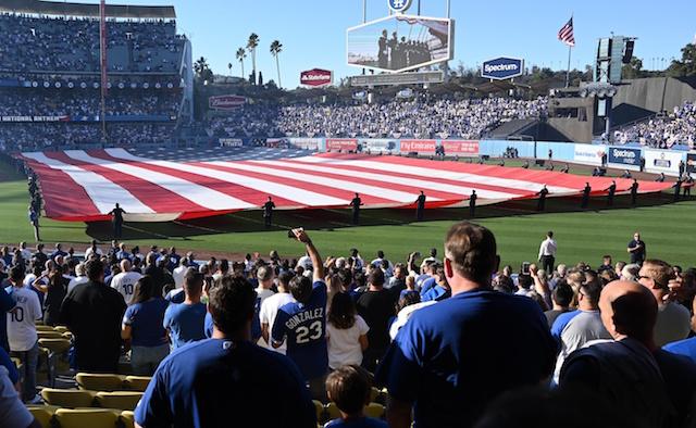 Dodger Stadium view, American flag, 2018 NLCS
