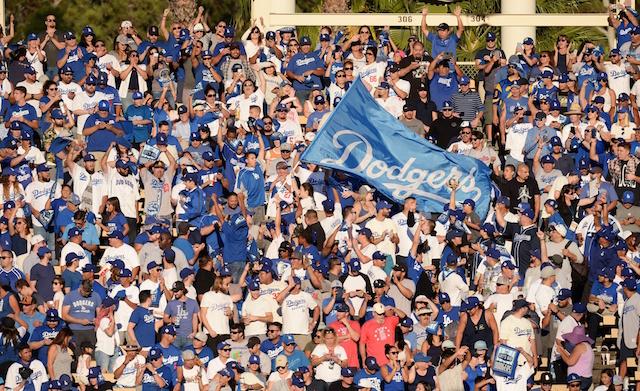 Dodgers fans, flag, 2018 NLCS