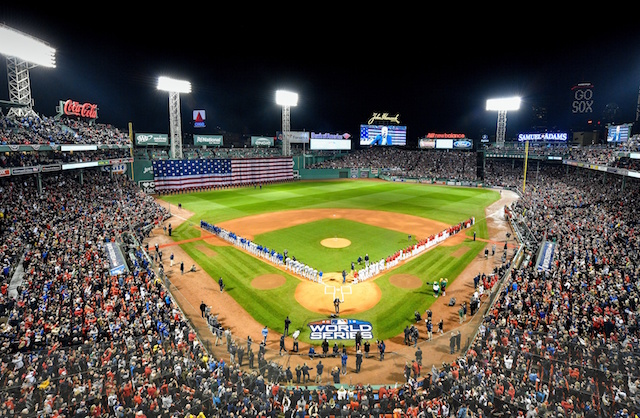 Fenway Park view, Dodgers lined up, 2018 World Series