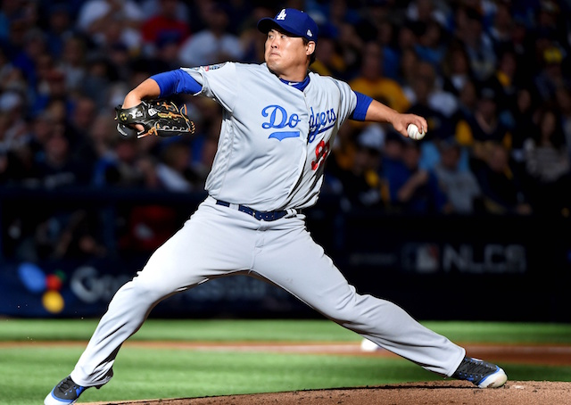 Los Angeles Dodgers pitcher Hyun-Jin Ryu, 2018 NLCS