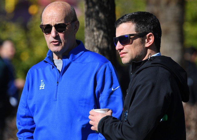 Los Angeles Dodgers president and CEO Stan Kasten stands with president of baseball operations Andrew Friedman