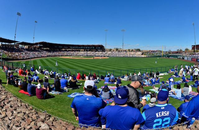 General view of Camelback Ranch during a Los Angeles Dodgers Spring Training game