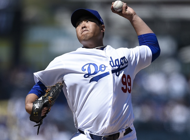 68ff33ae4 Dodgers News  Hyun-Jin Ryu Credits Early Run Support For Feeling   Comfortable  In Opening Day Start. Kelvin Kuo-USA TODAY Sports