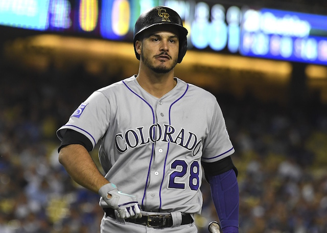 Colorado Rockies third baseman Nolan Arenado during a game at Dodger Stadium