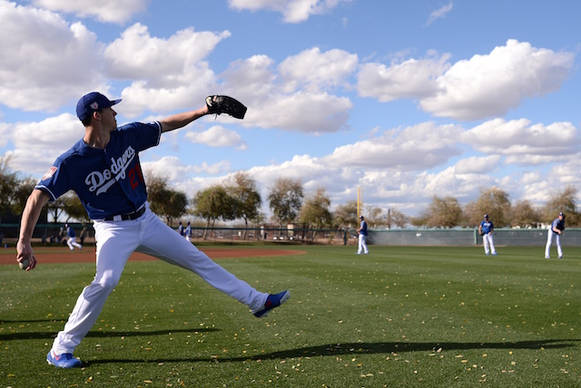 Los Angeles Dodgers starting pitcher Walker Buehler during a Spring Training workout at Camelback Ranch
