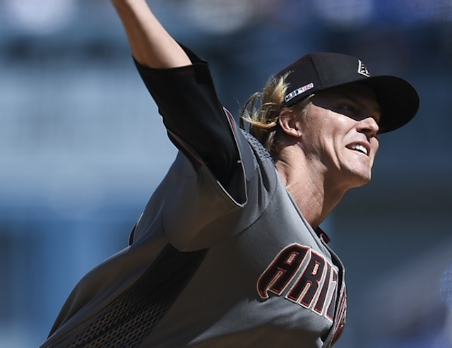 Arizona Diamondbacks starting pitcher Zack Greinke against the Los Angeles Dodgers