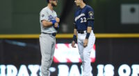 Los Angeles Dodgers All-Star Cody Bellinger and Milwaukee Brewers outfielder Christian Yelich talk before a game at Miller Park