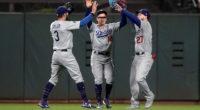 Kiké Hernandez, Chris Taylor and Alex Verdugo celebrate after a Los Angeles Dodgers win