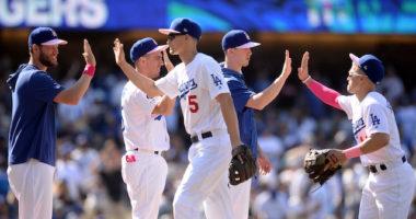 Austin Barnes, Walker Buehler, Kiké Hernandez, Clayton Kershaw, Corey Seager, Dodgers win