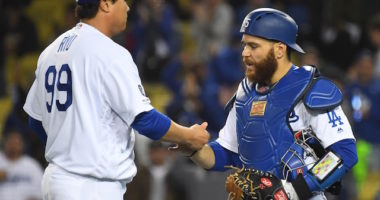 Los Angeles Dodgers teammates Russell Martin and Hyun-Jin Ryu celebrate after a win