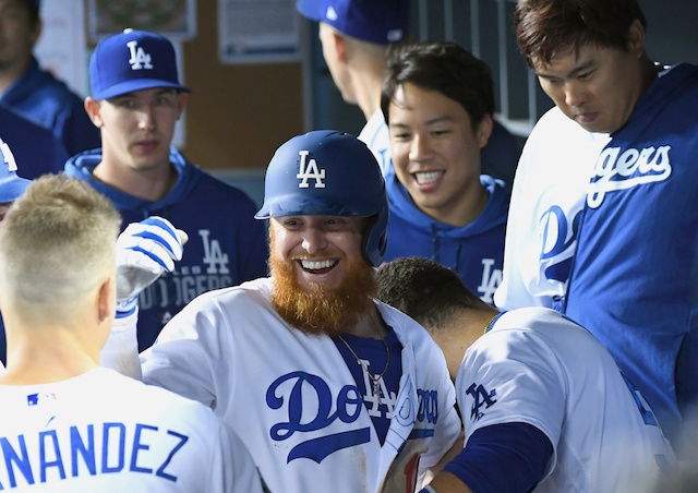 Los Angeles Dodgers third baseman Justin Turner in the dugout at Dodger Stadium