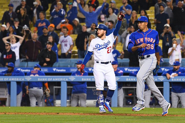 Los Angeles Dodgers outfielder Alex Verdugo celebrates a walk-off win against the New York Mets