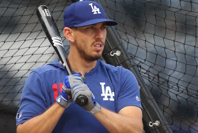 Los Angeles Dodgers catcher Austin Barnes during batting practice at PNC Park