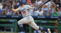 Los Angeles Dodgers catcher Austin Barnes gets a hit against the Pittsburgh Pirates