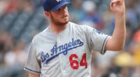 Los Angeles Dodgers pitcher Caleb Ferguson gestures during a game at PNC Park