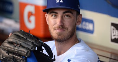 Los Angeles Dodgers right fielder Cody Bellinger in the dugout at Dodger Stadium