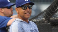 Los Angeles Dodgers manager Dave Roberts during batting practice at PNC Park