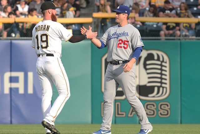 Los Angeles Dodgers infielder David Freese prior to a game against the Pittsburgh Pirates at PNC Park