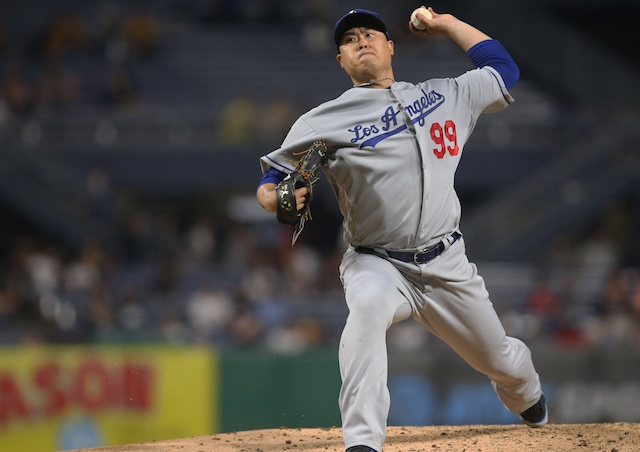 Los Angeles Dodgers pitcher Hyun-Jin Ryu against the Pittsburgh Pirates