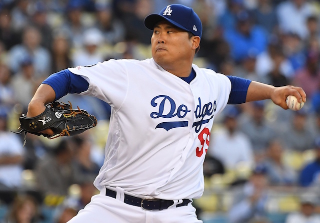 Los Angeles Dodgers starting pitcher Hyun-Jin Ryu against the New York Mets