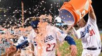 Joc Pederson and Alex Verdugo celebrate a Los Angeles Dodgers walk-off win