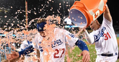 Joc Pederson and Alex Verdugo celebrate a Los Angeles Dodgers walk-off win