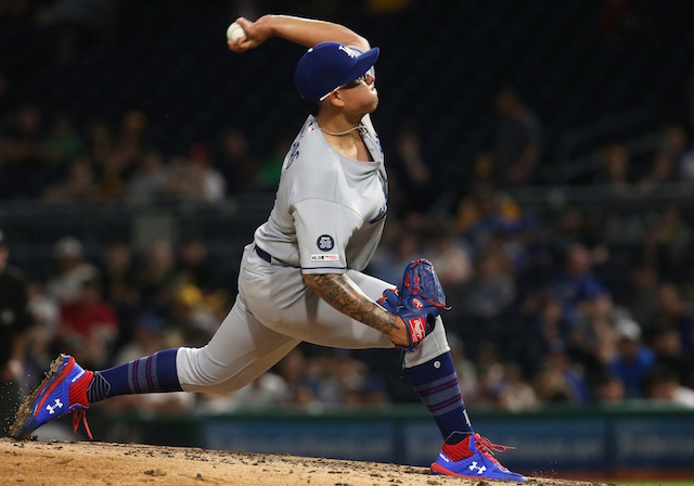 Los Angeles Dodgers pitcher Julio Urias throws a pitch against the Pittsburgh Pirates