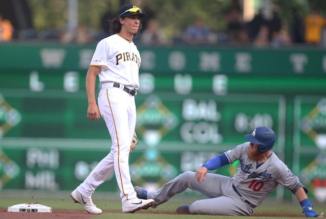 Los Angeles Dodgers third baseman Justin Turner slides into second base during a game against the Pittsburgh Pirates at PNC Park