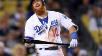 Los Angeles Dodgers third baseman Justin Turner reacts to his strikeout against the New York Mets
