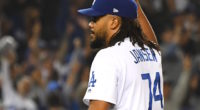 Los Angeles Dodgers closer Kenley Jansen celebrates a win against the New York Mets
